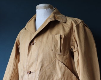 """Vintage 1950s 50s brown tin cloth duck cotton canvas hunting shooting jacket 47"""" chest workwear work chore American"""