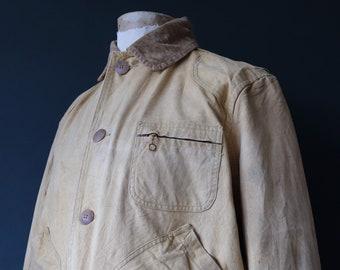 "Vintage 1950s 50s American Field Hettrick tan brown duck cotton canvas jacket hunting shooting American Talon zipper 51"" chest XL"