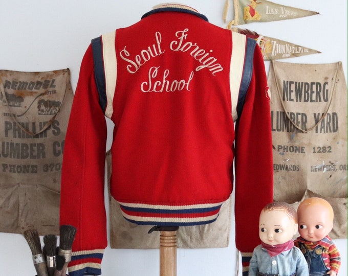 """Featured listing image: Vintage 1950s 50s red white blue Seoul Foreign School college varsity letterman jacket reversible wool leather satin 40"""" chest Ivy League"""