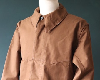 """Vintage 1960s 60s deadstock french SNCF railway railroad engineer jacket work chore workwear 48"""" chest cotton canvas chin strap"""