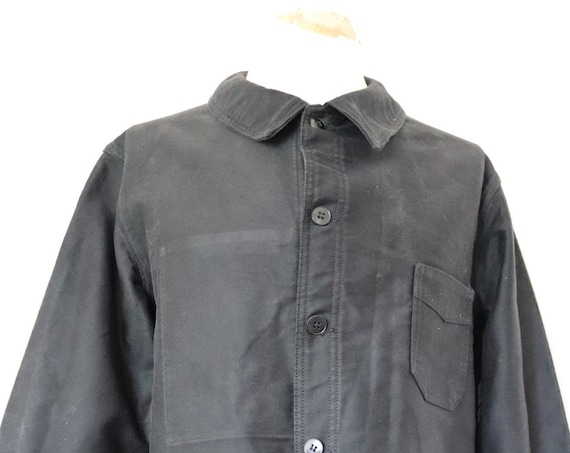 "Vintage 1960s 60s french black moleskin chore work jacket workwear 47"" chest"