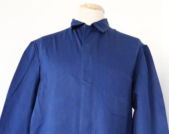 "Vintage German indigo blue hbt herringbone twill work chore jacket 45"" chest workwear"