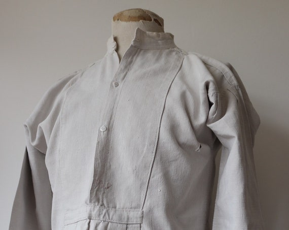 "Vintage 1910s 1920s 20s french white linen work shirt workwear 45"" chest chore pleated grandad collar smock pop over"