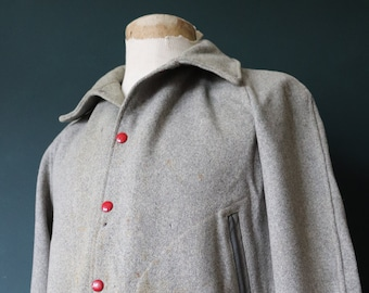 """Vintage 1960s 60s distressed trashed grey red wool MIT varsity college jacket 46"""" chest Ivy League style rockabilly"""
