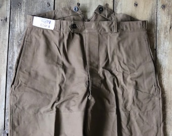"""Vintage 1960s 60s French brown duck cotton canvas SNCF railway railroad work trousers pants buckle cinch back 38"""" x 28"""""""