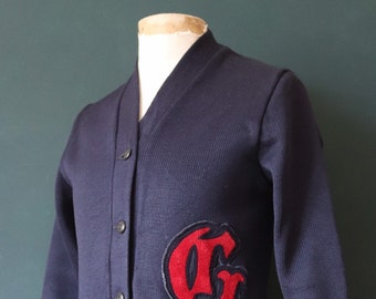 Vintage 1960s 60s American USA blue wool knitted varsity Ivy League style rockabilly mod G chenille patch jumper sweater cardigan knitwear