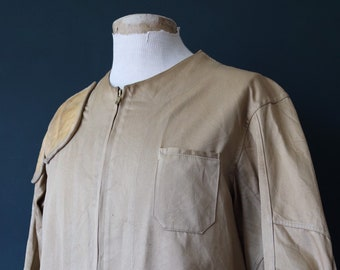 """Vintage 1960s 60s khaki brown army cotton twill shooting hunting jacket leather patches Talon zipper 44"""" chest"""
