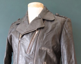 "Vintage 1970s 70s German black biker motorcycle jacket plaited epaulettes white trim zippers 42"" chest"