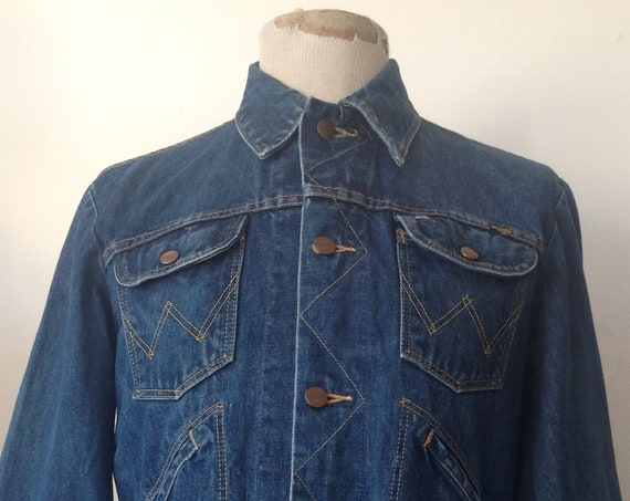 "Vintage 1980s 80s indigo blue denim Wrangler rope font trucker jacket workwear work chore 40"" chest"