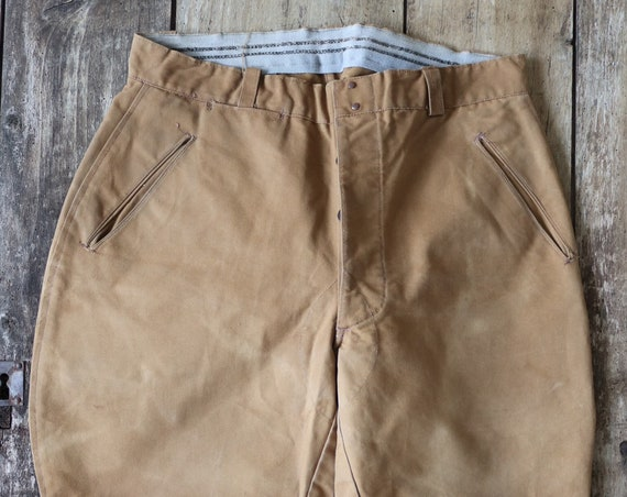 "Vintage 1950s 50s french Le Mont St Michel tan brown cotton canvas hunting riding breeches plus fours 34"" x 25"" work workwear chore"