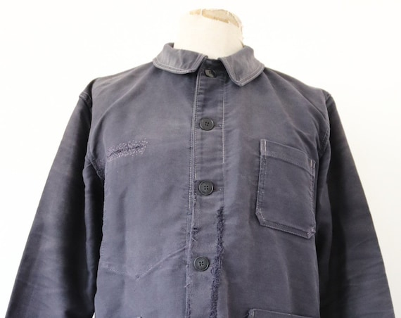 "Vintage 1960s 60s Le Beaufort french black moleskin work chore jacket 46"" chest repaired darned sun faded workwear"
