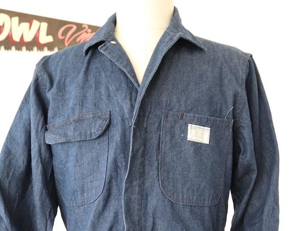 "Vintage 1970s 70s JC Penneys Big Mac denim coveralls overalls workwear work mechanic 42"" chest 34"" x 30"" mens womens Talon zipper"