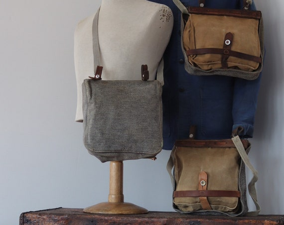 Vintage 1930s 30s 1940s 40s 1950s 50s Swiss army salt and pepper bread shoulder bags canvas leather military stamped