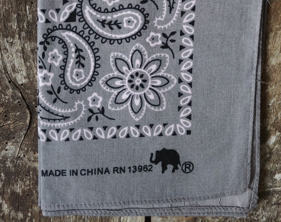 Vintage grey cotton colour color fast bandana neckerchief pocket square Elephant brand trunk up western cowboy