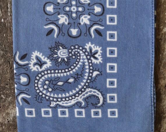 Vintage indigo blue cotton colour color fast bandana neckerchief pocket square western cowboy
