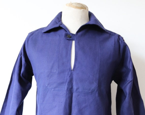 "Vintage 1970s 70s deadstock indigo blue french cotton twill smock pop over shirt work chore workwear sailing fisherman 40"" chest"