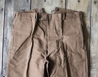 """Vintage 1960s 60s French brown duck cotton canvas SNCF railway railroad work trousers pants buckle cinch back 37"""" x 30"""""""