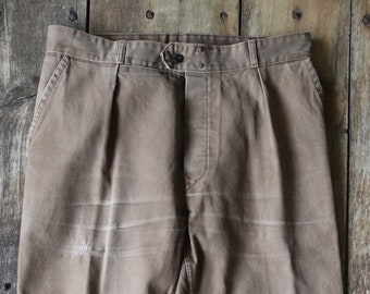 """Vintage 1960s 60s French brown cotton twill work chore workwear trousers pants darned repaired 33"""" x 26"""""""