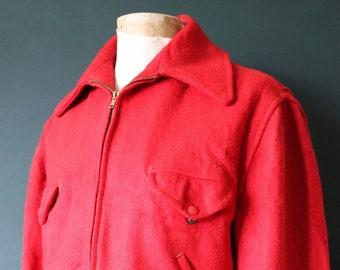 "Vintage 1950s 50s Soo Wool plain red wool hunting shooting jacket Talon zipper 48"" chest rockabilly car coat"