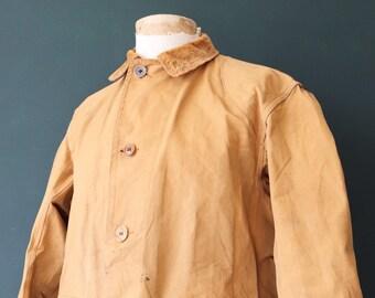 "Vintage 1940s 40s Drybak American tan brown duck cotton canvas hunting shooting jacket 49"" chest work workwear chore"