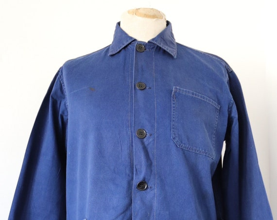 "Vintage french indigo blue cotton twill work chore jacket 46"" chest workwear"