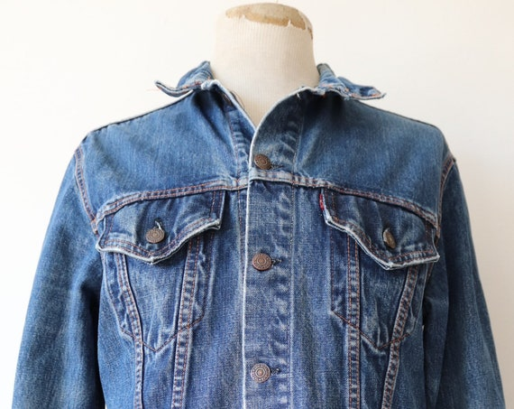 "Vintage 1970s 70s Levis Levi Strauss denim trucker type three jacket 70505 capital big E red tab 42"" chest workwear"