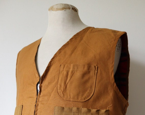 """Vintaeg 1970s 70s deadstock brown cotton canvas tin cloth hunting shooting vest waistcoat 48"""" chest work workwear chore"""