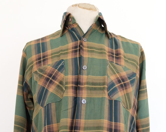 "Vintage 1960s 60s rayon green brown mustard checked plaid shirt rockabilly 44"" chest"