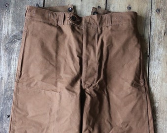 """Vintage 1960s 60s French brown duck cotton canvas SNCF railway railroad work trousers pants buckle cinch back 34"""" x 29"""""""