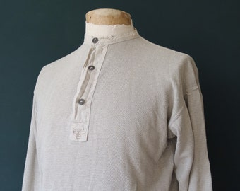 """Vintage 1940s 40s 1950s 50s Swedish army military undershirt thermal Henley waffle top underwear 43"""" chest grandad collar"""