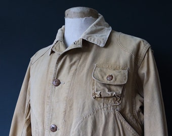 """Vintage 1940s 40s tin cloth duck cotton canvas hunting shooting jacket 46"""" chest Red Head American workwear work chore"""