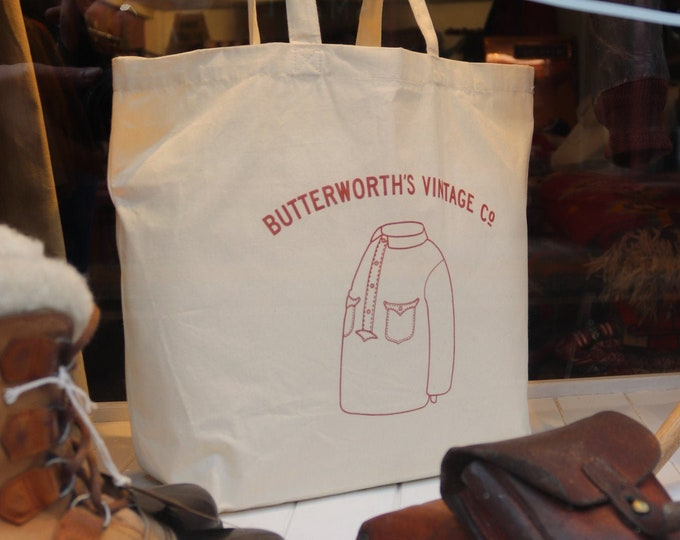Featured listing image: Butterworth's Vintage organic cotton tote beach shoulder shopping reusable bag XL natural