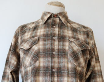 """Vintage 1970s 70s brown checked wool Pendleton shadow plaid wetsern cowboy shirt 46"""" chest snap buttons made in USA"""
