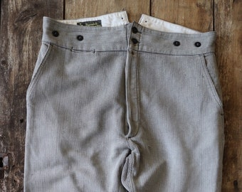 """Vintage 1950s 50s 1960s 60s french grey pique corduroy trousers pants buckle cinch button fly back workwear work chore 38"""" x 28"""""""