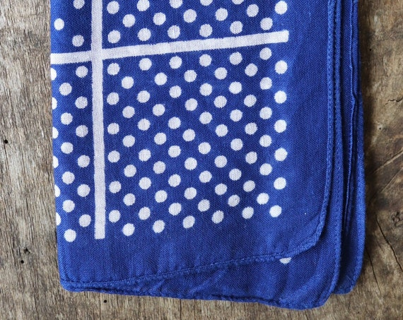 Vintage 1950s 50s cotton colourfast colorfast indigo blue bandana pocket square neckerchief spotted rockabilly western cowboy made in USA