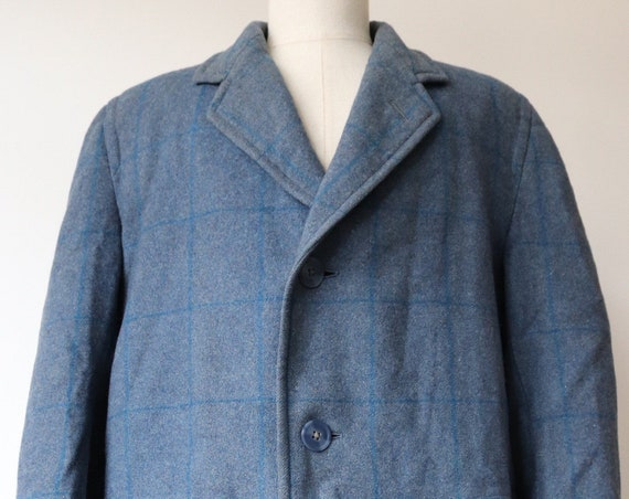 """Vintage 1940s 40s CC41 WW2 blue checked wool coat overcoat 46"""" chest utility clothing rationing"""