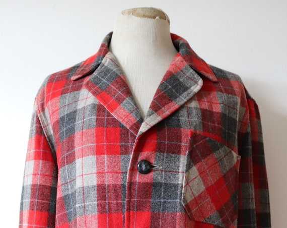 """Vintage 1950s 50s 1960s 60s red grey Sears Roebuck Hercules 49er wool plaid checked jacket rockabilly Ivy League  Loafin' Mates 48"""" chest"""