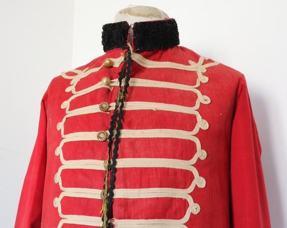 """Vintage 1930s 30s red black white French bandolier marching band theatre costume jacket Nimes 41"""" chest military hussar dolman Hendrix stage"""