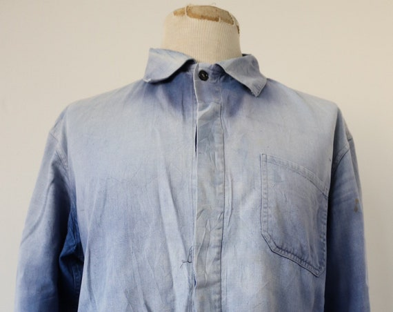 "Vintage french blue indigo bleu de travail sun faded work chore jacket workwear 50"" chest cotton twill"