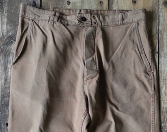 """Vintage 1960s 60s French brown cotton twill work chore workwear trousers pants darned repaired 36"""" x 25"""""""