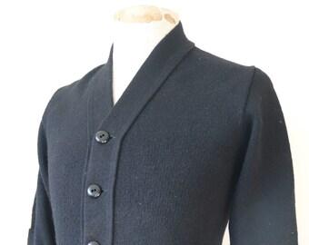 "Vintage 1980s 80s black acryclic varsity sweater cardigan knit knitwear xs 33"" chest Ivy League style rockabilly patch"