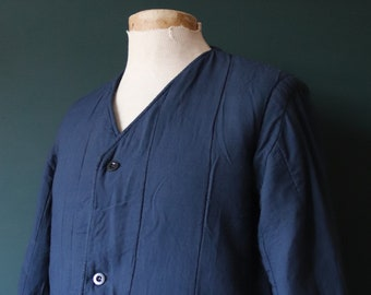 """Vintage 1970s 70s indigo navy blue Czech army tank liner quilted padded jacket military 46"""" chest work workwear chore"""