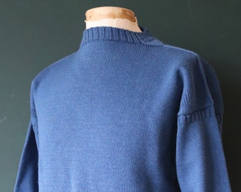 "Vintage Tricoteur blue Guernsey gansey fisherman sweater jumper wool Breton 45"" chest work workwear chore knitwear knitted boat neck"