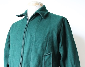 "Vintage 1960s 60s forest green wool Scouts Scouting Association jacket Lightning zipper 44"" chest rockabilly"