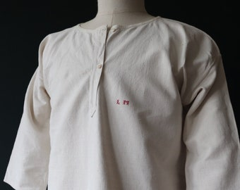 """Vintage antique 1900s handmade french off-white linen nightgown shirt dress monogrammed indigo dye project 46"""" chest"""