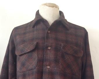 "Vintage 1960s 60s brown wool checked plaid Pendleton board shirt loop collar flap pocket 46"" chest Beach Boys"