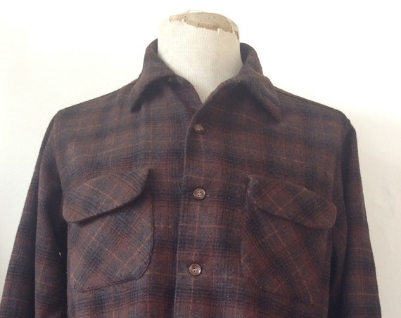 "Vintage 1960s 60s brown wool checked plaid Pendleton board shirt loop collar flap pocket 46"" chest Beach Boys"