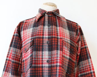 """Vintage 1970s 70s red grey black Pendleton plaid checked wool over camp shirt 48"""" chest rockabilly made in USA"""