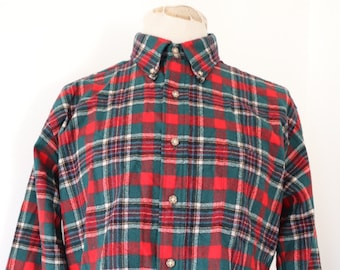 """Vintage green red checked plaid wool Pendleton button down shirt rugged outdoor camping 47"""" chest made in USA"""