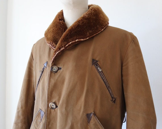 "Vintage 1950s 50s french brown cotton canvas sheepskin shearling canadienne barnstormer jacket 44"" chest mouton collar workwear"